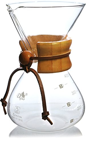 Diguo Pour Over Coffee Maker, Classic Series Glass Coffeemaker. Wooden Collar Handle with Leather Tie. 400ml/14oz/1-3 Cups. Model: DG-2012