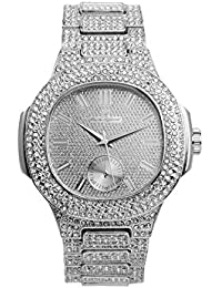 Bling-ed Out Oblong Case Metal Mens Watch w/Gift Box -...