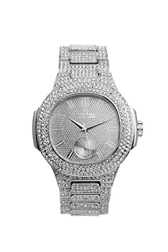 (Bling-ed Out Oblong Case Metal Mens Watch - 8475 - Silver/Silver)