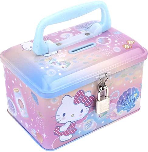 Ellon Hello Kitty Tin Coin Money Bank Storage Box with Lock & Handle