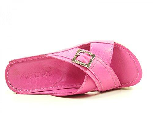 Andrea Conti 779205 Schuhe Damen Sandalen Comfort Keil Pantoletten Pink