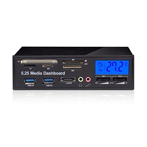 Semoic Multifunctional Media Panel 5.25 inch Computer Front Dashboard with SATA/eSATA, USB 2.0/USB 3.0, Microphone/Headphone Audio Ports and Integrated Card Reader (XD/Micro-/TF/MS/M2/MMC)