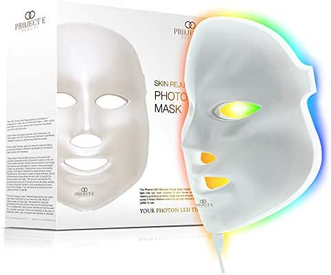 Project E Beauty 7 Colors LED Face Mask Photon Therapy For Skin Rejuvenation Tightening and Whitening Anti Aging Wrinkles Scarring Removal Beauty Facial Skin Care Mask