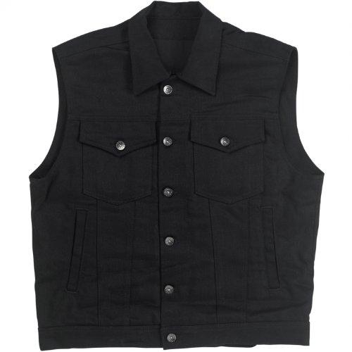 Biltwell Inc. Men's Denim Collared Black Vest, S