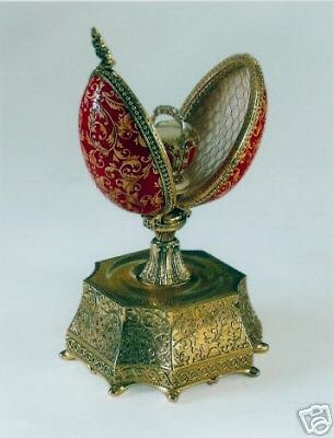 - Limited Edtion Russian Musical Style Faberge Goose Egg- Made and Cast of 22 K Gold Finished Bronze