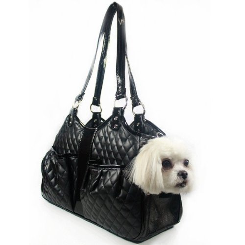 Petote Metro Quilted Luxe Pet Carrier, Large, Black