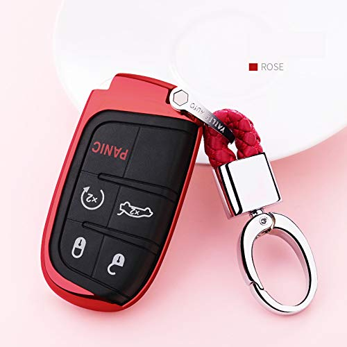 MAXMILO Soft TPU Case Cover Protector Case for Cadillac Key Fob red Car Remote Key Fob Case for Cadillac ATS-L CT6 XTS XT5 CTS SRX Escalade Fob Remote Key+Keychain
