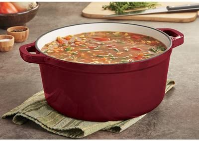 Castlecreek Enameled Cast Iron 6.5-Liter Dutch Oven with Lid, Red, Model 6509