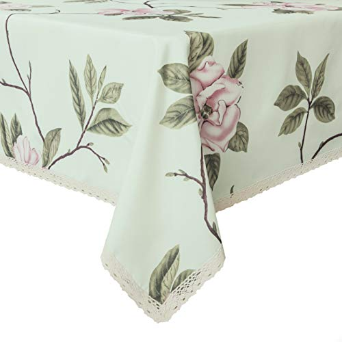 Weiwo Decorative Floral Print Polyester Rectangle Tablecloth Waterproof Fabric Lace Table Cloth, Table Cover for Dining Room and Party (60 x 104­-inch, Pale Green)
