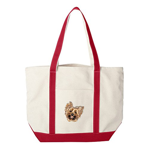 Cherrybrook Dog Breed Embroidered Canvas Tote Bags - Red - Yorkshire Terrier ()