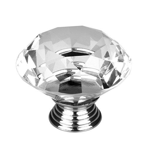 8 Pcs Crystal Glass Diamond Drawer Wardrobe Kitchen Cabinets Cupboard Door Pull Knobs - 4