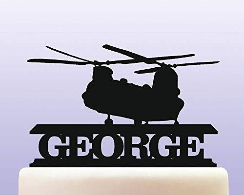 Personalised Acrylic Chinook Helicopter Army & Air Force Military Birthday Cake Topper for Anniversary Party Decorations Birthdays, Weddings, Themed Parties Cake Decoration In Your Choice of -