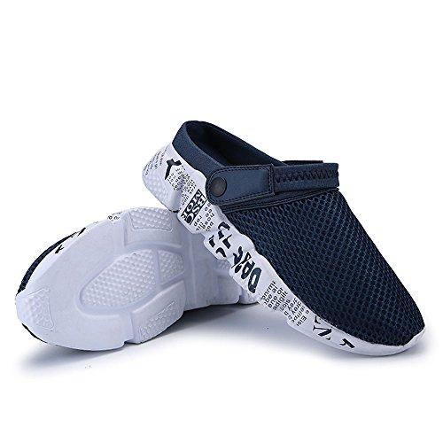 Summer Slide Men's Breathable Dark Flat Toe Blue Slippers Closed VILOCY Mesh Sport Sandal Beach B5YWFnpWA