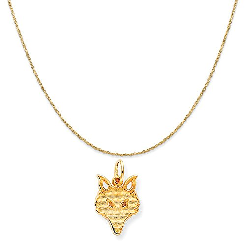 10k Yellow Gold Solid Flat Back Small Fox Head Charm on 14K Yellow Gold Rope Chain Necklace, (Fox Yellow Pendant)