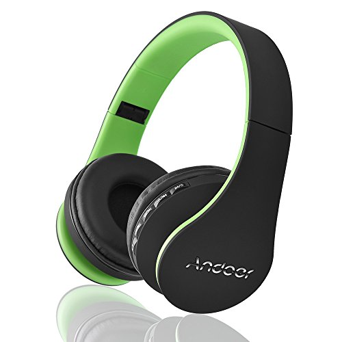 Andoer LH-811 Digital 4 in 1 Multifunctional Wireless Stereo Bluetooth 3.0 Headphone Headset with Mic MP3 Player MicroSD / TF Music FM for Smart Phones Tablet PC Notebook (Green)