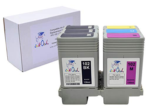 InkOwl Compatible Ink Cartridge Replacement for Canon PFI-102 (130ml, 6-Pack) - iPF500, iPF510, iPF600, iPF605, iPF610, iPF700, iPF710, iPF720 Printers