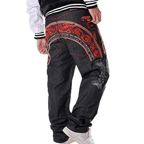 Noir Pantalons Lâches 4 Kewing Hommes Skateboard En Jean De Pour AdPwF8qP