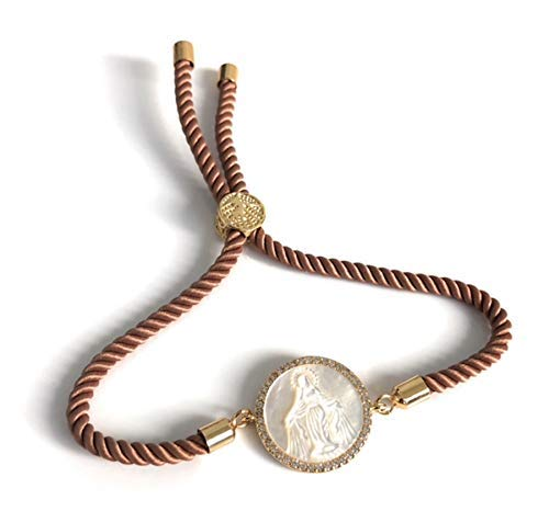 - Mother of Pearl Virgin Mary Adjustable Bracelet Catholic Gifts for Women