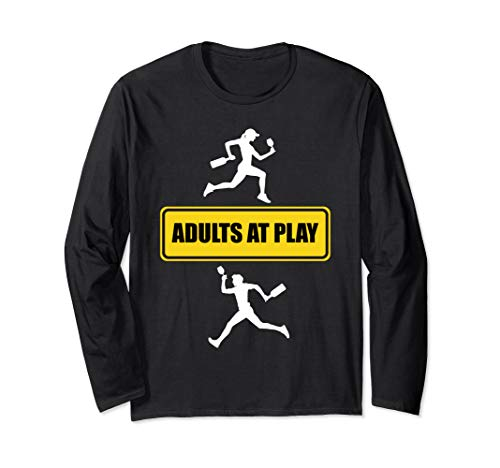 Adults at Play Running with Wine Yellow Road Sign Wine Humor Long Sleeve T-Shirt