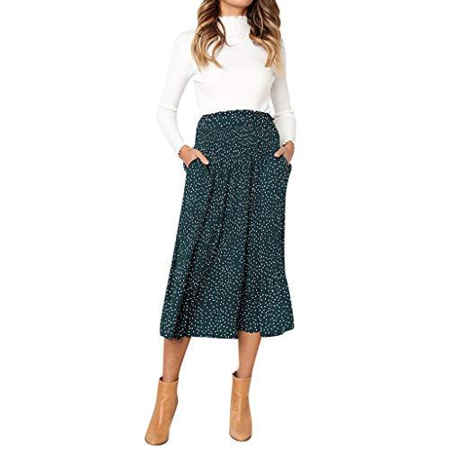 - Women Casual Retro High Waist Floral Maxi Dress Print Skirt