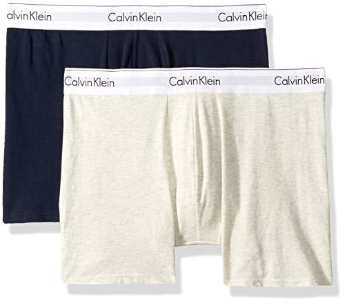 Calvin Klein Men's Modern Cotton Stretch Boxer Briefs, Snow Heather/Shoreline, ()
