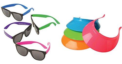 Neon Plastic Visors & Rubber Sunglasses Toy Party Favor Supplies 24 Piece Set Bundle for 12