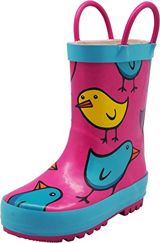 NORTY - Girls Chicks Print Waterproof Rainboot, Fuchsia, Turquoise 40153-13MUSLittleKid