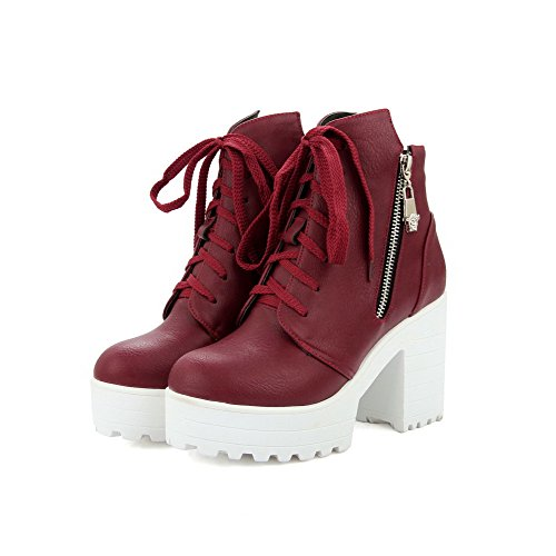 Closed High Material Women's Claret Round Zipper Boots Allhqfashion top Toe Heels Soft Low w1qUUOg