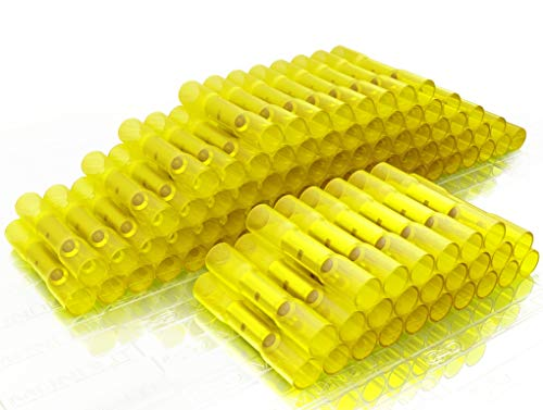 100 pcs HEAT SHRINK BUTT CONNECTORS YELLOW Electrical Marine Automotive Waterproof Wire Splice Insulated Crimp Connector Kit 12 10 Gauge AWG