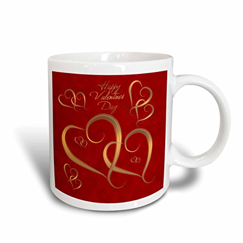 3dRose Golden Hearts Entwined on a Mottled Red Background with Happy Valentines Day Mug, 11-Ounce