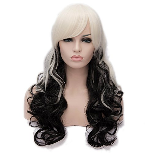 Probeauty Ombre Black Mixed White Long Large Loose