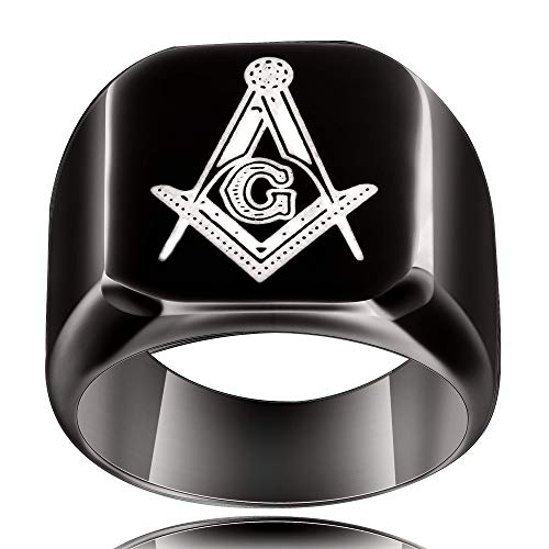 VQYSKO 316L Stainless Steel Masonic Ring for Men Master Masonic Signet Ring Mason Ring Jewelry (G11) (Masonic Signet Ring)