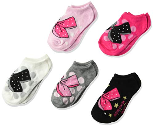 Nickelodeon Big JoJo Siwa Girl's 5 Pack No Show, Fits Sock Size 6-8.5 fits Shoe Size 7.5-3.5, assorted pink/black/x