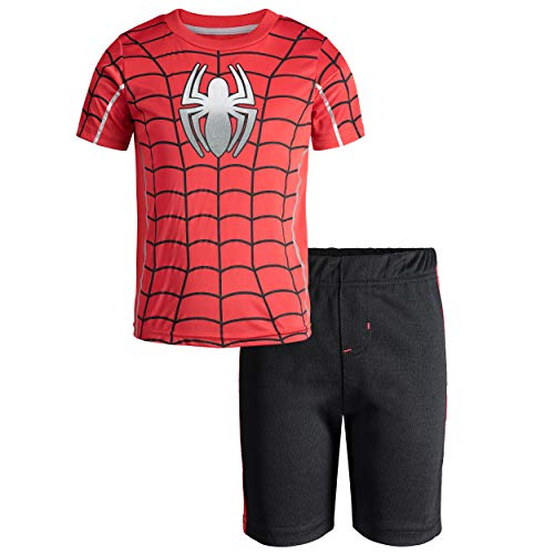 Marvel Avengers Spiderman Little Boys' Athletic T-Shirt & Mesh Shorts Set, Red (8) -