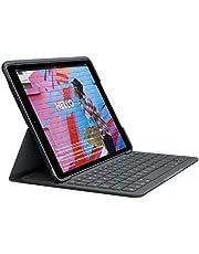 Logitech Slim Folio toetsenbordcase voor iPad 10,2 inch (7e generatie), geintegreerd draadloos toetsenbord, Engelse QWERTY Layout (geschikt voor NL), Zwart