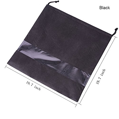 2 PCS Handbag Dust Bags Perspective Window Storage Bag Non-woven Breathable Drawstring Pouch (Windows-Black) by AUMEY (Image #1)