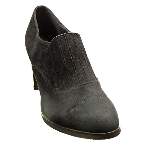 Angkorly - damen Schuhe Stiefeletten - Low boots - Slip-On - Linien Blockabsatz high heel 7.5 CM - Schwarz