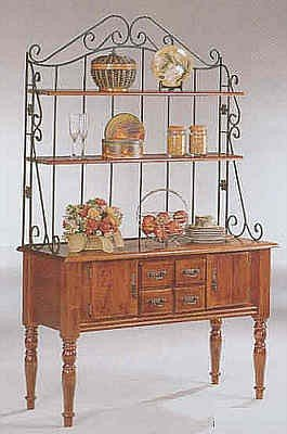 Turned Leg Style Dirty Oak Wood Buffet Hutch Baker's Rack with 2 Drawers and 2 Doors Cabinet Storage Area Table Furniture