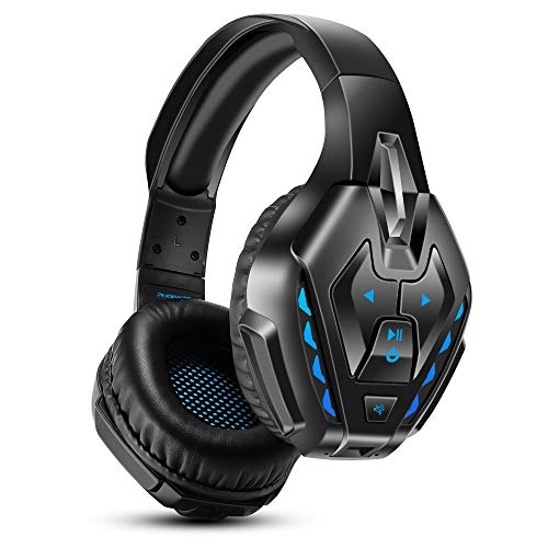 PS4 Headset, PHOINIKAS Wired Gaming Headset for Xbox One, PC, Wired Headset for Gaming with Noise Cancelling Mic, 7.1 Bass Surround Bluetooth Wireless Headset for Music, LED Light, 40H Playtime - Blue