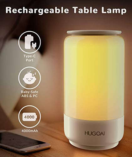 Cordless Table Lamps for Bedrooms, HUGOAI Rechargeable Lamps for Bedroom, Dimmable Bedside Lamp Battery Operated, Night Lights with Shades of White Lights and Vibrant RGB Colors, White
