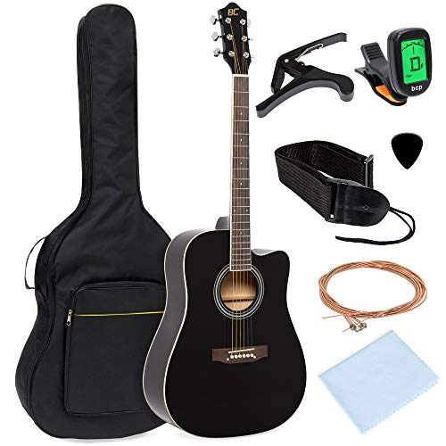 Best Choice Products 41in Full Size Beginner Acoustic Cutaway Guitar Kit Musical Instrument Bundle Set w/Padded Case, Strap, Capo, Extra Strings, Digital Tuner, Polishing Cloth, 4 Picks – Black