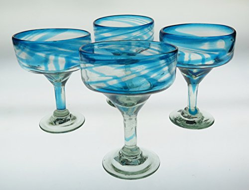 Mexican Glass Margarita Turquoise Swirl 18 ounce Qty ()