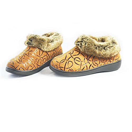 Eagsouni® Mujeres Mujer felpa Zapatillas De Estar Por Casa Interior Skidproof Algodón Zapatos Nieve Botas Negro