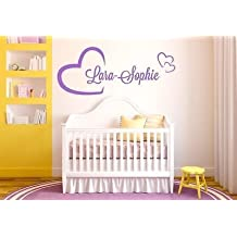 Custom Made Personalised Hearts Any Name Vinyl Wall Sticker Art Decal Kids Children Bedroom-you Choose Name and Color
