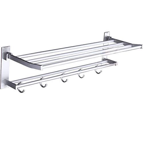 - ZHFEL Towel Bar Rack, Double fold Accessories Towel Bar Modern Storage Organizer for Toilet-Punch free-48Cm(19Inch)