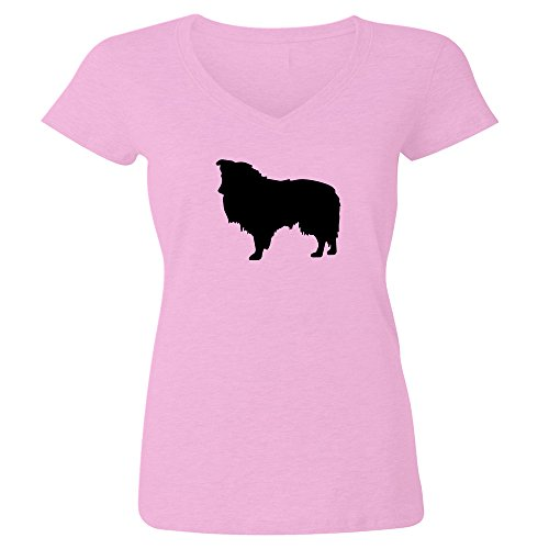 Shetland Sheepdog t-shirt cotton unisex crew neck and womens v-neck options graphic tee shirt (v-neck, pale pink, medium)