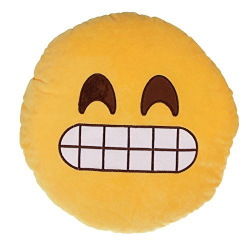 Emoji Grin Yellow Round Pillow