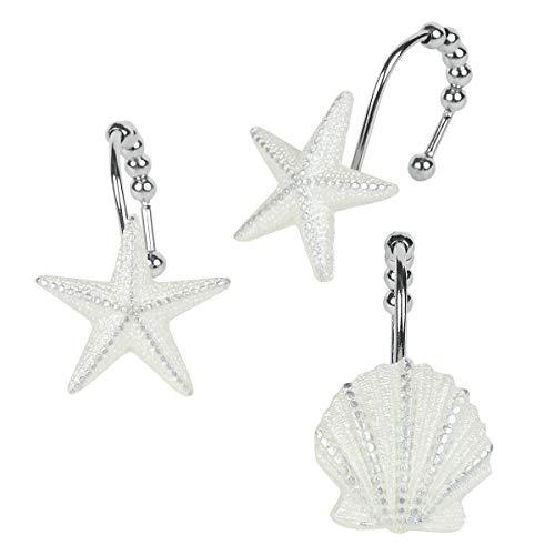 DS BATH Madamoiselle Shower Curtain Hooks,Seashell Bathroom Curtain Hooks,Decorative Starfish Hooks for Shower Curtains,Set of 12