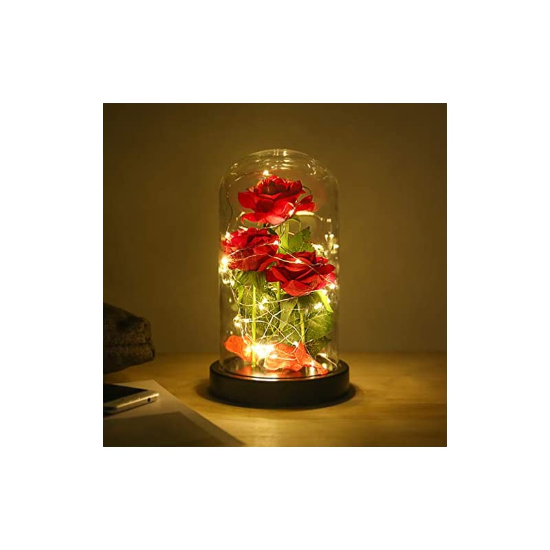 silk flower arrangements beauty and the beast rose flowers, artificial flower rose gift led light string in glass dome, warm light mode, unique gift for her, anniversary wedding, multi use for home/office or home decorations