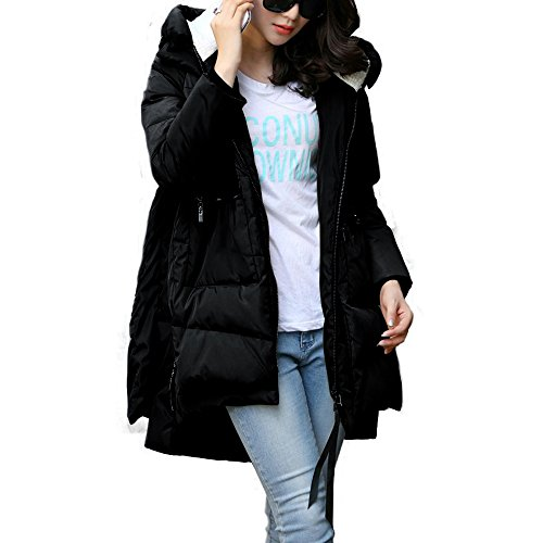 Kangwoo Women's Winter Puffer Down Coat Hooded Long Parka Jacket - Black XXL